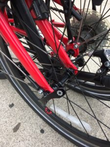 Quick release on front wheel of DAHON Speed P8 folding bike